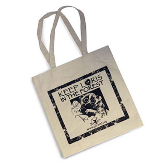 Keep loris in the forest reusable cotton tote bag
