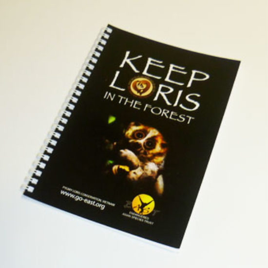 Keep loris in the forest A5 lined notebook