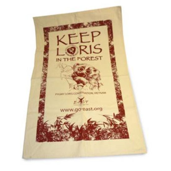 Keep loris in the forest tea towel